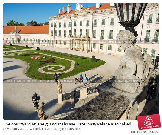 The courtyard an the grand staircase. Esterhazy Palace also called... Стоковое фото, фотограф Martin Zwick / age Fotostock / Фотобанк Лори