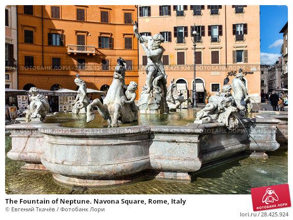 Купить «The Fountain of Neptune. Navona Square, Rome, Italy», фото № 28425924, снято 7 ноября 2017 г. (c) Евгений Ткачёв / Фотобанк Лори
