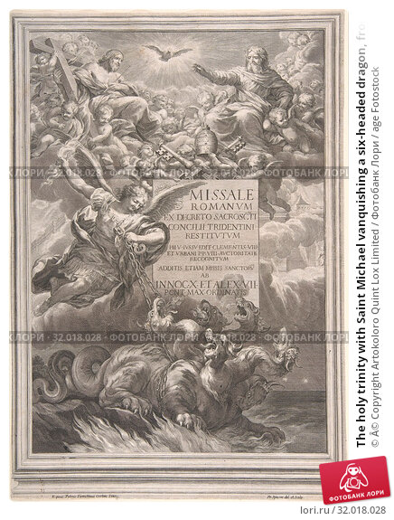 Купить «The holy trinity with Saint Michael vanquishing a six-headed dragon, frontispiece to 'Missale Romanum ex decreto sacrosancti Concilii tridentini restitutum...», фото № 32018028, снято 26 апреля 2017 г. (c) age Fotostock / Фотобанк Лори