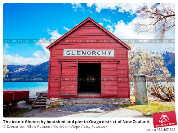 The iconic Glenorchy boatshed and pier in Otago district of New Zealand... Стоковое фото, фотограф Zoonar.com/Chris Putnam / easy Fotostock / Фотобанк Лори