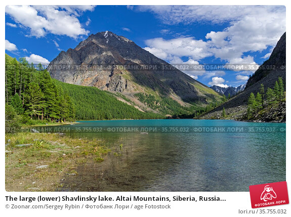 The large (lower) Shavlinsky lake. Altai Mountains, Siberia, Russia... Стоковое фото, фотограф Zoonar.com/Sergey Rybin / age Fotostock / Фотобанк Лори