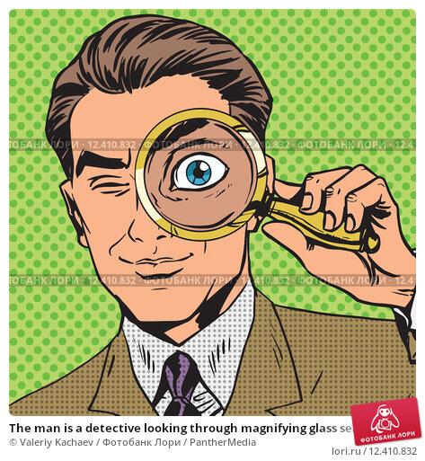 Купить «The man is a detective looking through magnifying glass search p», фото № 12410832, снято 25 апреля 2019 г. (c) PantherMedia / Фотобанк Лори