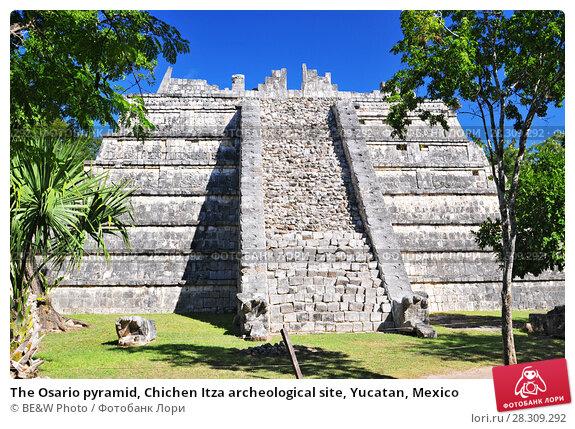 Купить «The Osario pyramid, Chichen Itza archeological site, Yucatan, Mexico», фото № 28309292, снято 23 апреля 2018 г. (c) BE&W Photo / Фотобанк Лори