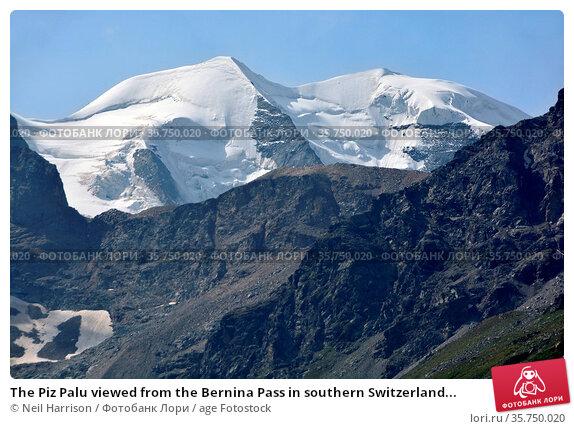 The Piz Palu viewed from the Bernina Pass in southern Switzerland... Стоковое фото, фотограф Neil Harrison / age Fotostock / Фотобанк Лори