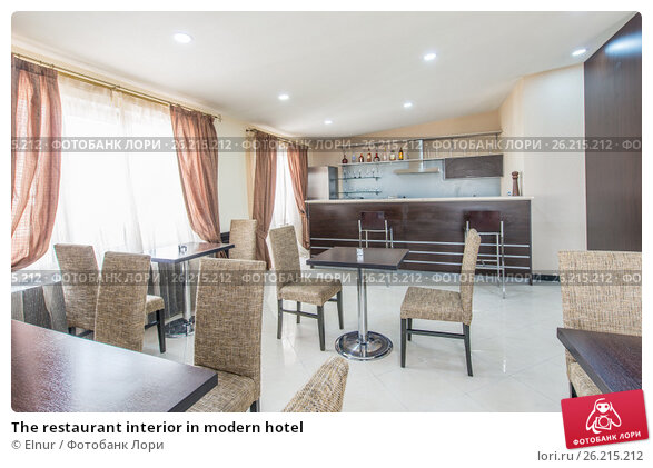 Купить «The restaurant interior in modern hotel», фото № 26215212, снято 3 мая 2017 г. (c) Elnur / Фотобанк Лори
