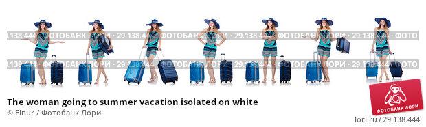 Купить «The woman going to summer vacation isolated on white», фото № 29138444, снято 27 августа 2013 г. (c) Elnur / Фотобанк Лори