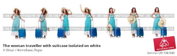 Купить «The woman traveller with suitcase isolated on white», фото № 29138540, снято 29 августа 2013 г. (c) Elnur / Фотобанк Лори