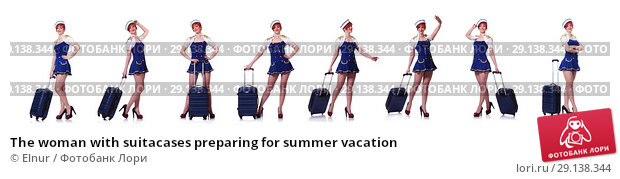 Купить «The woman with suitacases preparing for summer vacation», фото № 29138344, снято 19 марта 2013 г. (c) Elnur / Фотобанк Лори