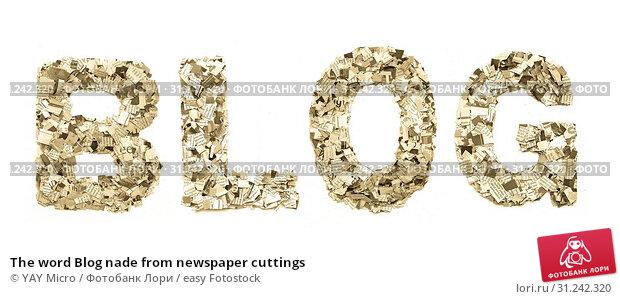 Купить «The word Blog nade from newspaper cuttings», фото № 31242320, снято 17 сентября 2015 г. (c) easy Fotostock / Фотобанк Лори