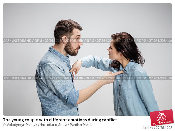 Купить «The young couple with different emotions during conflict», фото № 27761208, снято 15 февраля 2019 г. (c) PantherMedia / Фотобанк Лори