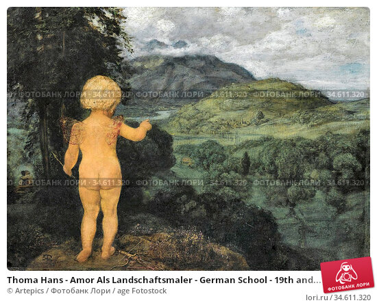 Thoma Hans - Amor Als Landschaftsmaler - German School - 19th and... Редакционное фото, фотограф Artepics / age Fotostock / Фотобанк Лори