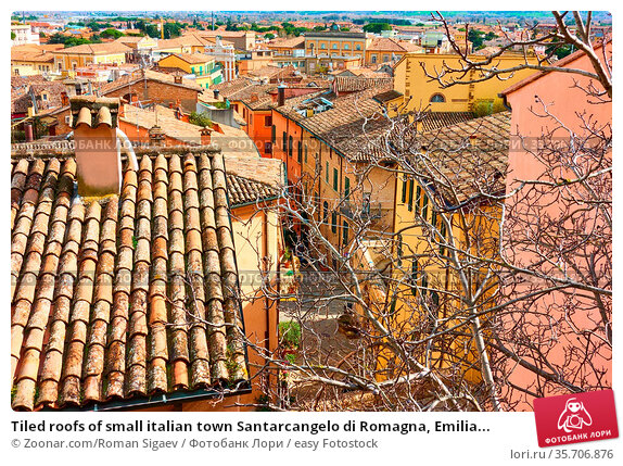 Tiled roofs of small italian town Santarcangelo di Romagna, Emilia... Стоковое фото, фотограф Zoonar.com/Roman Sigaev / easy Fotostock / Фотобанк Лори