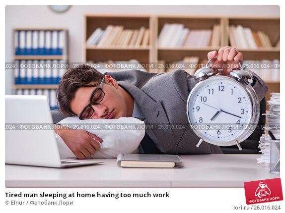 Купить «Tired man sleeping at home having too much work», фото № 26016024, снято 5 января 2017 г. (c) Elnur / Фотобанк Лори