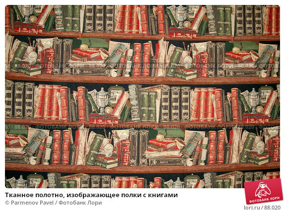 Тканное полотно, изображающее полки с книгами, фото № 88020, снято 16 сентября 2007 г. (c) Parmenov Pavel / Фотобанк Лори