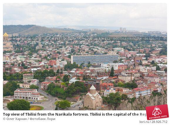 Купить «Top view of Tbilisi from the Narikala fortress. Tbilisi is the capital of the Republic of Georgia», фото № 28926712, снято 8 августа 2013 г. (c) Олег Хархан / Фотобанк Лори