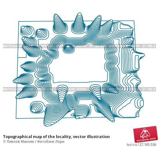 Купить «Topographical map of the locality, vector illustration», иллюстрация № 27185536 (c) Павлов Максим / Фотобанк Лори