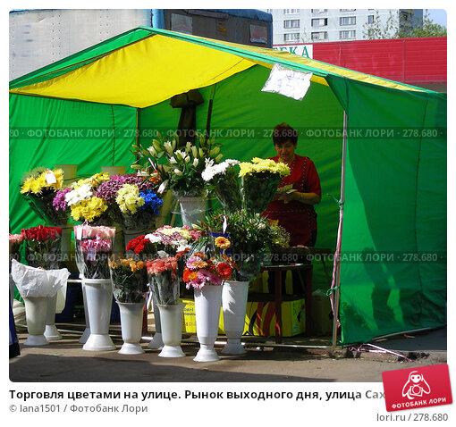 Торговля цветами на улице. Рынок выходного дня, улица Сахалинская, район Гольяново, Москва, эксклюзивное фото № 278680, снято 1 мая 2008 г. (c) lana1501 / Фотобанк Лори