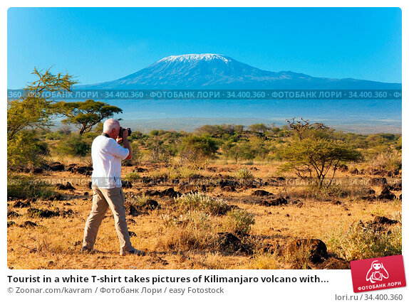 Tourist in a white T-shirt takes pictures of Kilimanjaro volcano with... Стоковое фото, фотограф Zoonar.com/kavram / easy Fotostock / Фотобанк Лори