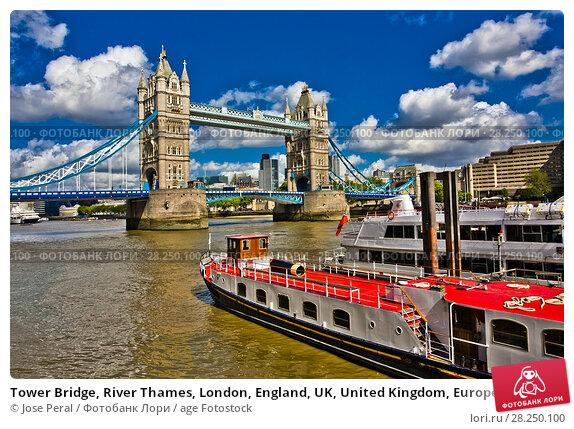 Купить «Tower Bridge, River Thames, London, England, UK, United Kingdom, Europe.», фото № 28250100, снято 9 мая 2011 г. (c) age Fotostock / Фотобанк Лори