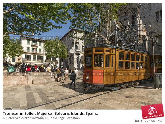 Купить «Tramcar in Soller, Majorca, Balearic Islands, Spain,.», фото № 28580732, снято 18 апреля 2018 г. (c) age Fotostock / Фотобанк Лори