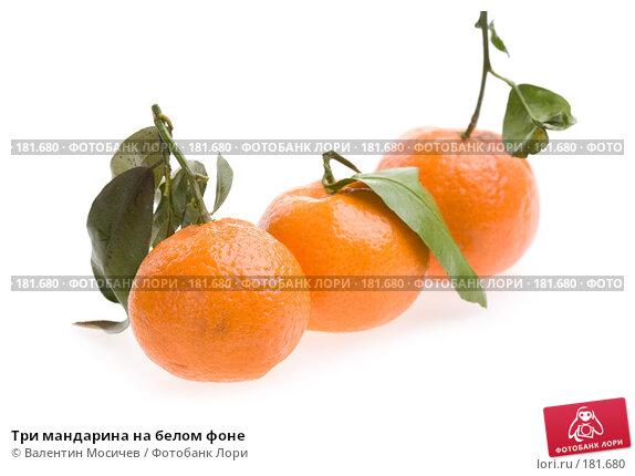Три мандарина на белом фоне, фото № 181680, снято 20 января 2008 г. (c) Валентин Мосичев / Фотобанк Лори