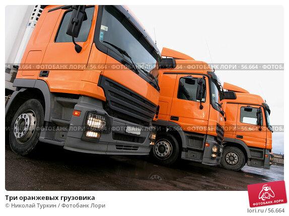 Три оранжевых грузовика, фото № 56664, снято 14 января 2005 г. (c) Николай Туркин / Фотобанк Лори