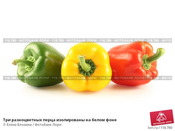 Купить «Три разноцветных перца изолированы на белом фоне», фото № 118780, снято 24 июля 2007 г. (c) Елена Блохина / Фотобанк Лори