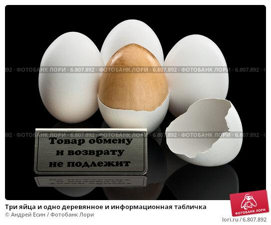 Купить «Три яйца и одно деревянное и информационная табличка», фото № 6807892, снято 2 декабря 2014 г. (c) Андрей Есин / Фотобанк Лори