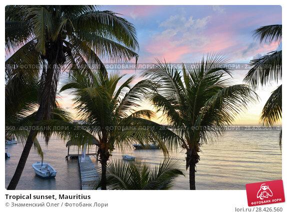 Купить «Tropical sunset, Mauritius», фото № 28426560, снято 1 мая 2013 г. (c) Знаменский Олег / Фотобанк Лори