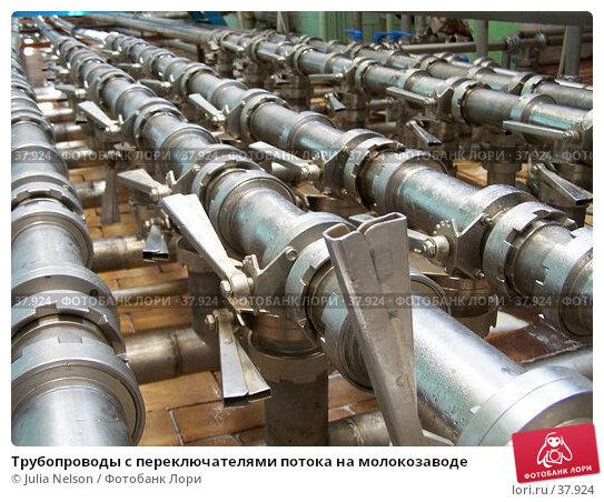 Трубопроводы с переключателями потока на молокозаводе, фото № 37924, снято 12 июня 2004 г. (c) Julia Nelson / Фотобанк Лори