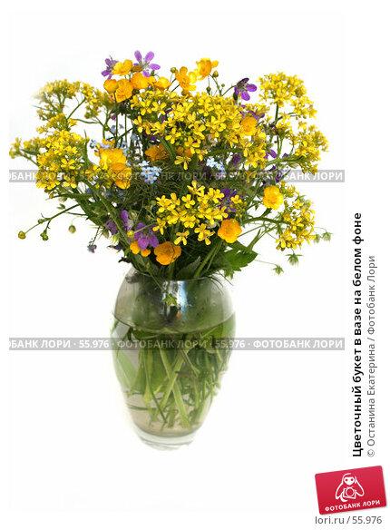 Цветочный букет в вазе на белом фоне, фото № 55976, снято 7 июня 2007 г. (c) Останина Екатерина / Фотобанк Лори