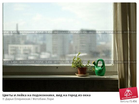 Цветы и лейка на подоконнике, вид на город из окна, фото № 5456, снято 26 марта 2006 г. (c) Дарья Олеринская / Фотобанк Лори