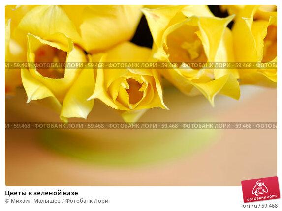 Цветы в зеленой вазе, фото № 59468, снято 8 мая 2007 г. (c) Михаил Малышев / Фотобанк Лори