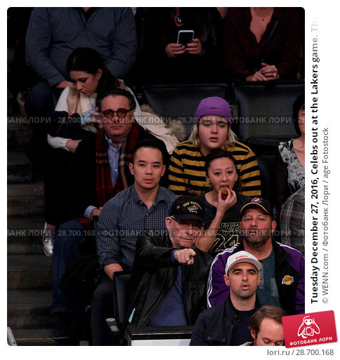 Купить «Tuesday December 27, 2016, Celebs out at the Lakers game. The Utah Jazz defeated the Los Angeles Lakers by the final score of 102-100 at Staples Center...», фото № 28700168, снято 27 декабря 2016 г. (c) age Fotostock / Фотобанк Лори