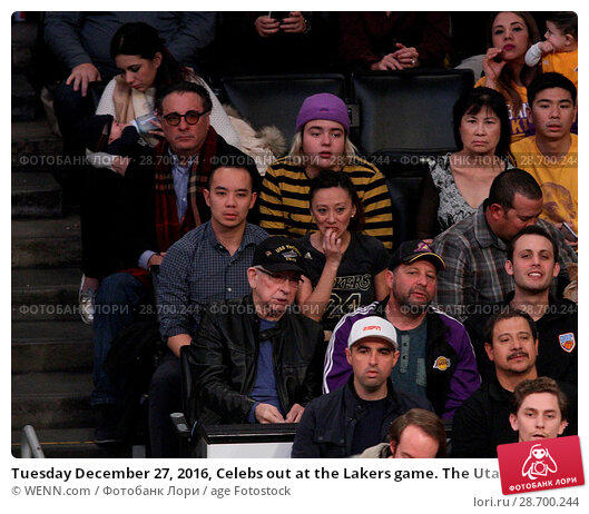 Купить «Tuesday December 27, 2016, Celebs out at the Lakers game. The Utah Jazz defeated the Los Angeles Lakers by the final score of 102-100 at Staples Center...», фото № 28700244, снято 27 декабря 2016 г. (c) age Fotostock / Фотобанк Лори