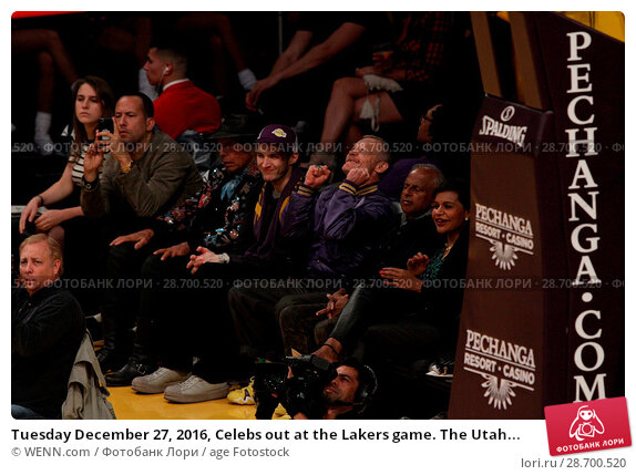 Купить «Tuesday December 27, 2016, Celebs out at the Lakers game. The Utah Jazz defeated the Los Angeles Lakers by the final score of 102-100 at Staples Center...», фото № 28700520, снято 27 декабря 2016 г. (c) age Fotostock / Фотобанк Лори