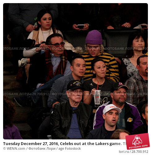 Купить «Tuesday December 27, 2016, Celebs out at the Lakers game. The Utah Jazz defeated the Los Angeles Lakers by the final score of 102-100 at Staples Center...», фото № 28700912, снято 27 декабря 2016 г. (c) age Fotostock / Фотобанк Лори
