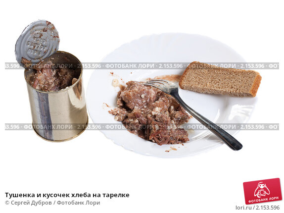 Купить «Тушенка и кусочек хлеба на тарелке», фото № 2153596, снято 21 ноября 2010 г. (c) Сергей Дубров / Фотобанк Лори