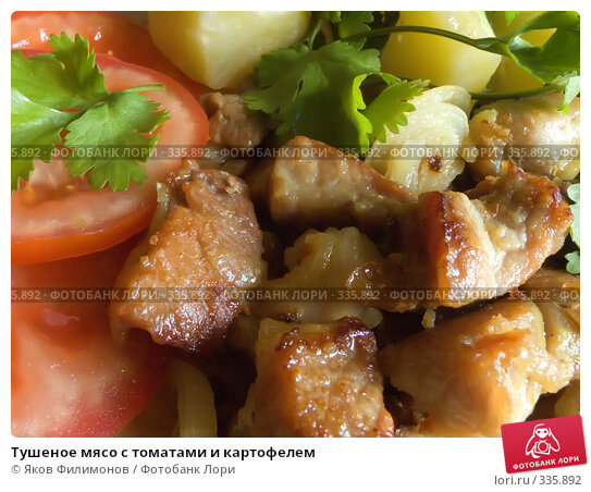 Тушеное мясо с томатами и картофелем, фото № 335892, снято 18 мая 2008 г. (c) Яков Филимонов / Фотобанк Лори
