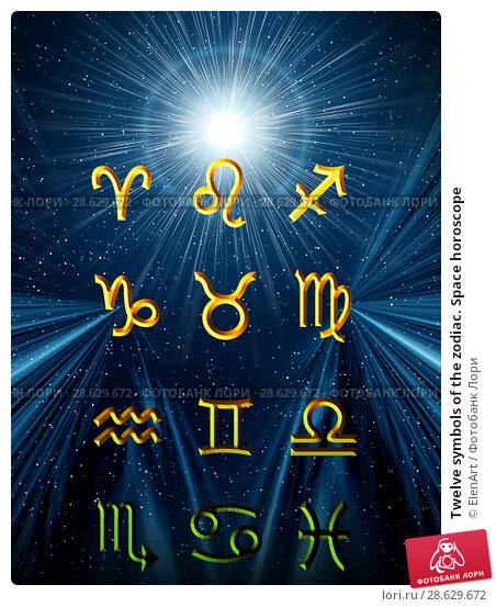 Купить «Twelve symbols of the zodiac. Space horoscope», иллюстрация № 28629672 (c) ElenArt / Фотобанк Лори