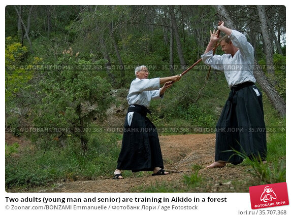 Two adults (young man and senior) are training in Aikido in a forest. Стоковое фото, фотограф Zoonar.com/BONZAMI Emmanuelle / age Fotostock / Фотобанк Лори