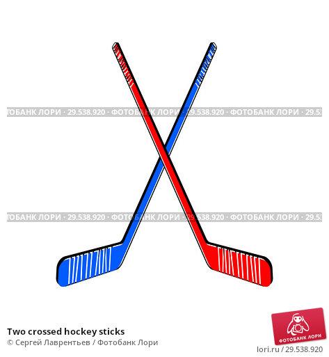Купить «Two crossed hockey sticks», иллюстрация № 29538920 (c) Сергей Лаврентьев / Фотобанк Лори