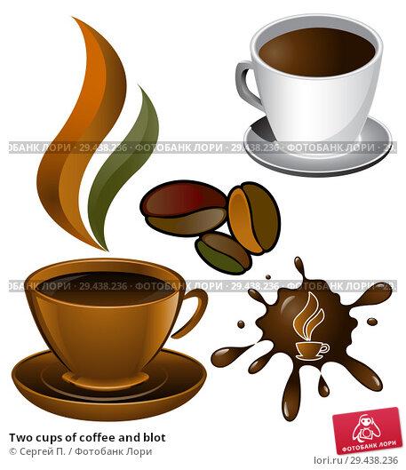 Купить «Two cups of coffee and blot», иллюстрация № 29438236 (c) Сергей П. / Фотобанк Лори