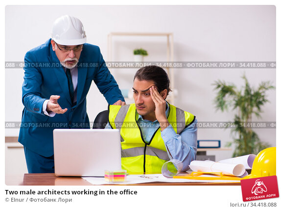 Two male architects working in the office. Стоковое фото, фотограф Elnur / Фотобанк Лори