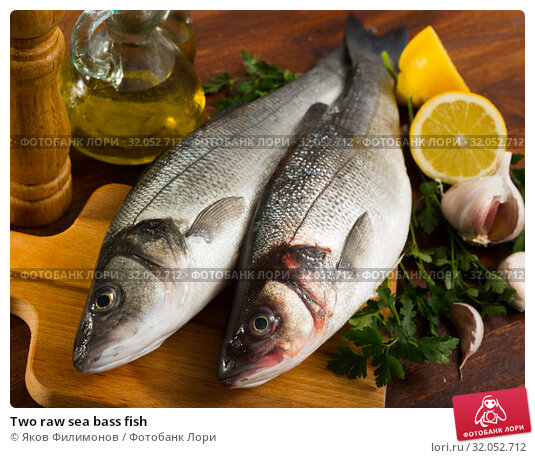Two raw sea bass fish. Стоковое фото, фотограф Яков Филимонов / Фотобанк Лори