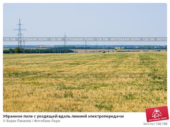Убранное поле с уходящей вдаль линией электропередачи, фото № 126196, снято 18 июля 2007 г. (c) Борис Панасюк / Фотобанк Лори