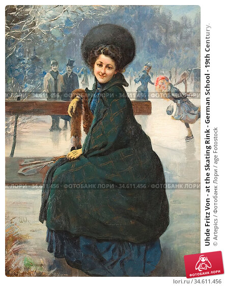 Uhde Fritz Von - at the Skating Rink - German School - 19th Century. Редакционное фото, фотограф Artepics / age Fotostock / Фотобанк Лори
