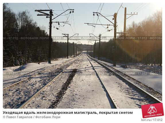 Уходящая вдаль железнодорожная магистраль, покрытая снегом, фото № 17012, снято 11 февраля 2007 г. (c) Павел Гаврилов / Фотобанк Лори