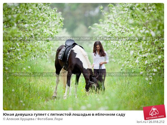 Юная девушка гуляет с пятнистой лошадью в яблочном саду, фото № 26018212, снято 10 мая 2012 г. (c) Melory / Фотобанк Лори