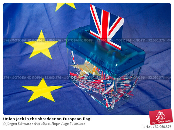 Union Jack in the shredder on European flag. Стоковое фото, фотограф Jürgen Schwarz / age Fotostock / Фотобанк Лори